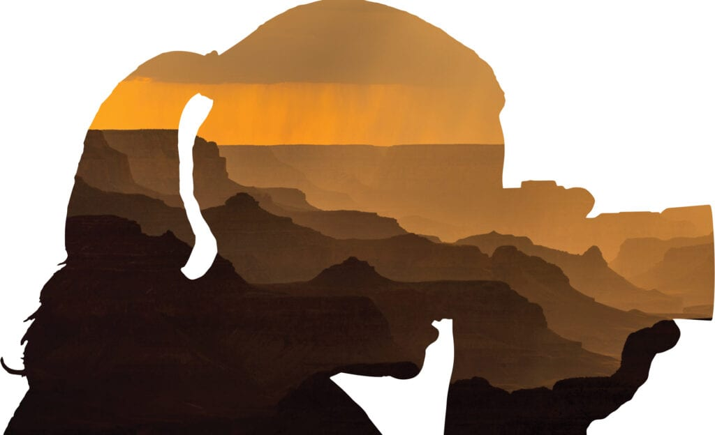 An abstract image of photo artist, Ann Newman, with the abstract photo of a sunset rainstorm in the Grand Canyon.