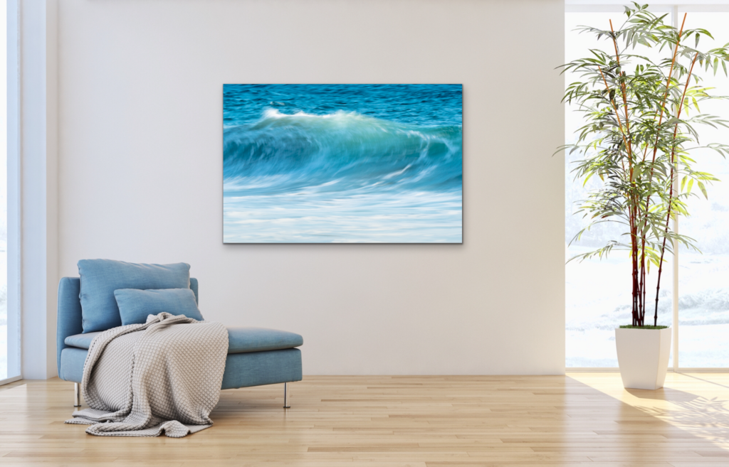 Honor the present moment with this captured wave cresting in shades of turquoise blue and white foam. Ideal for a living room wall print.