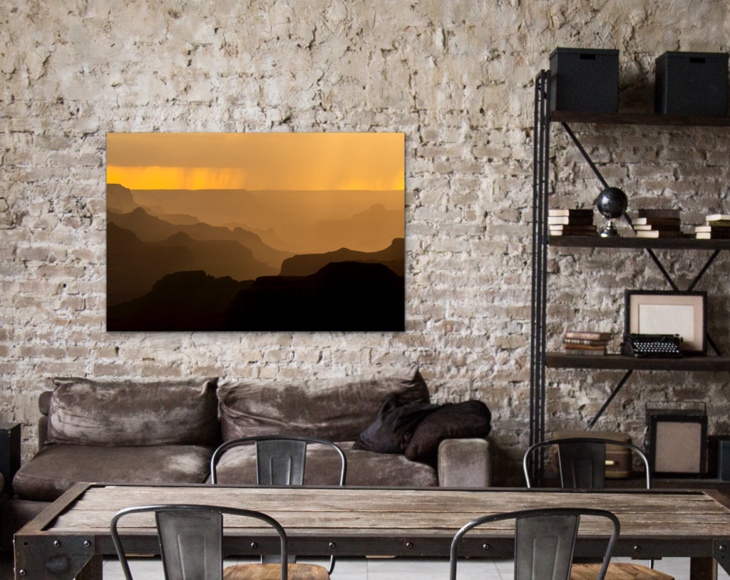 Shadow Traits abstract photo print looks great in an office. Layers of sunset shadows on the Grand Canyon  with a late day rainstorm passing over.