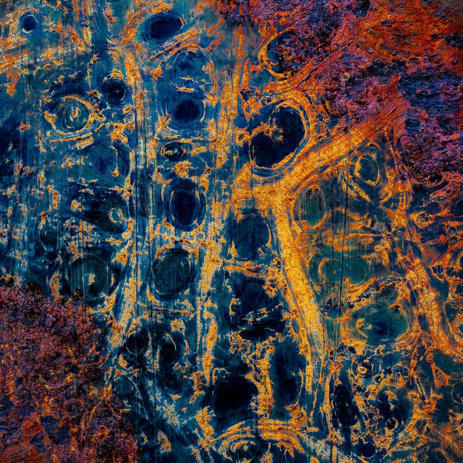 Abstract blue and orange art