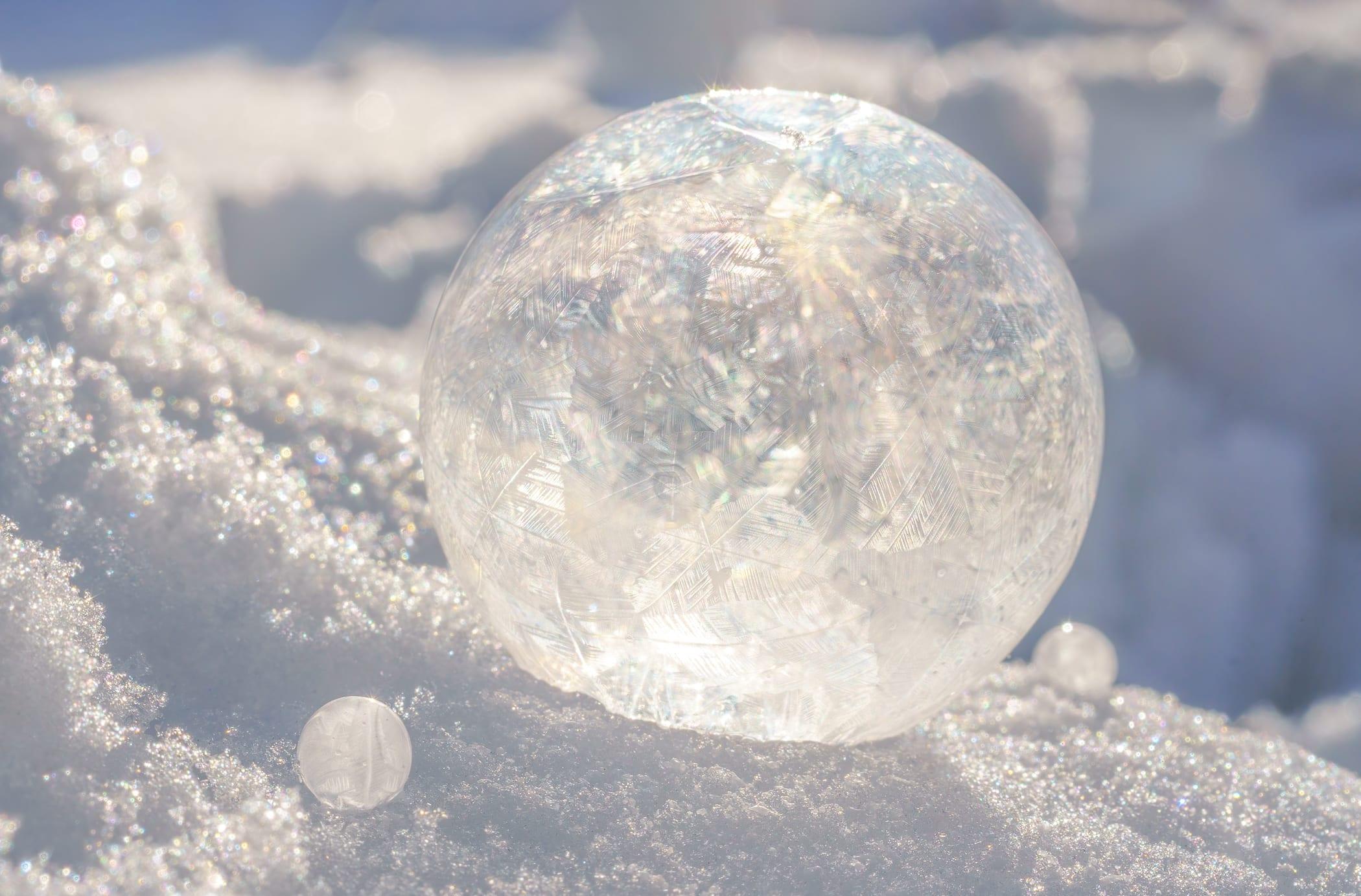 Frozen soap bubble close up