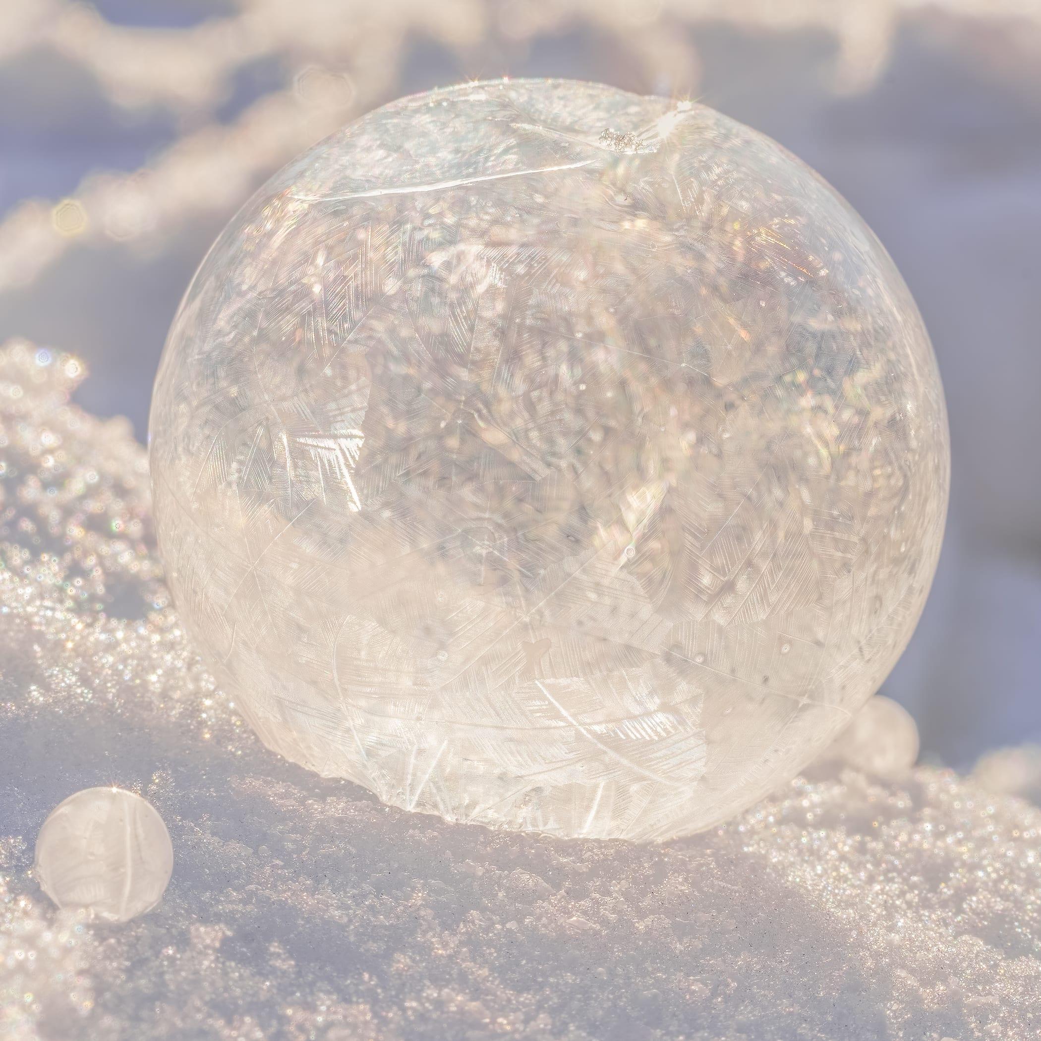 Close up of a frozen soap bubble