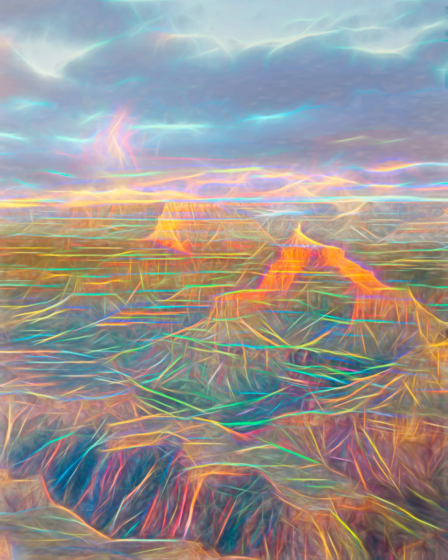 Digital art photo of Isis Temple in Grand Canyon with fantasy neon lines on landscape and clouds.
