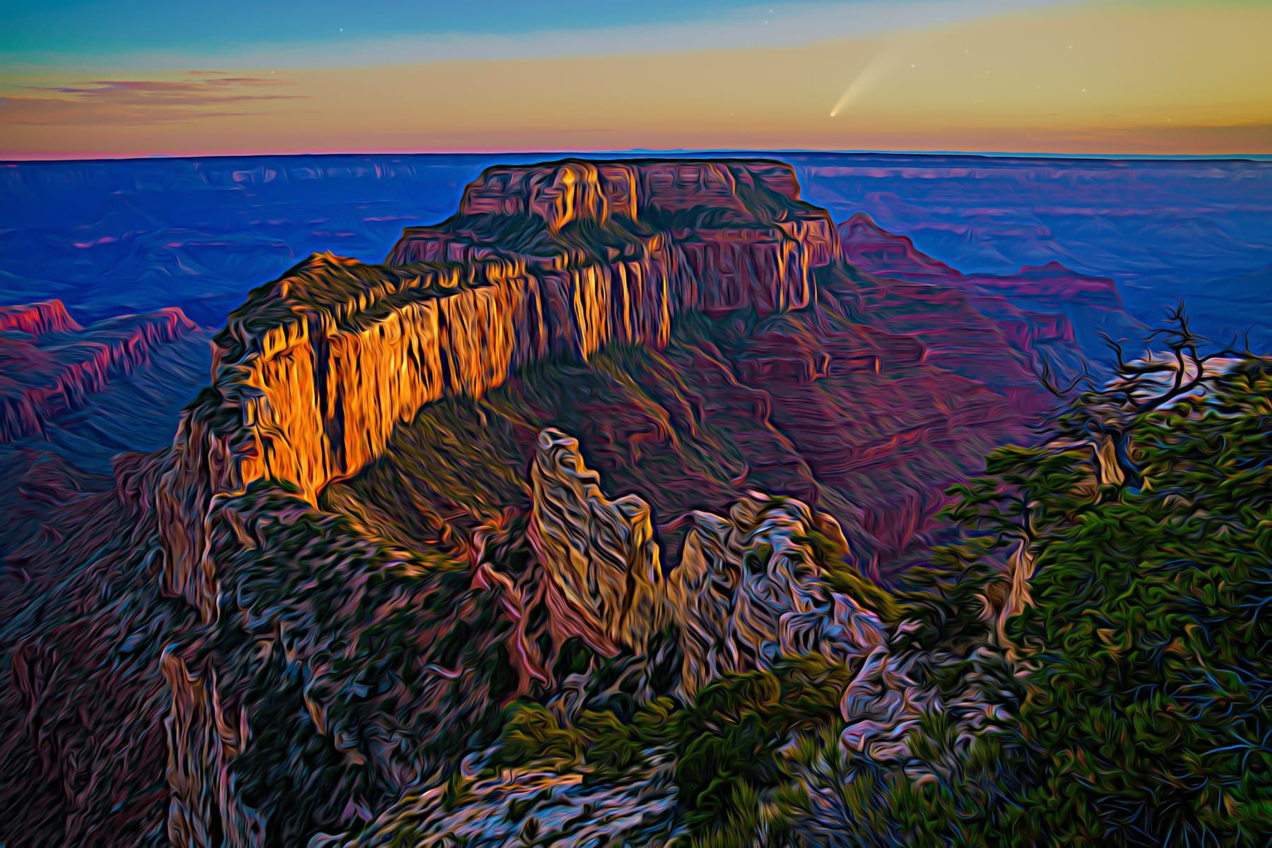 Wotan's Throne fantasy landscape in Grand Canyon with a comet and expressionistic colors.