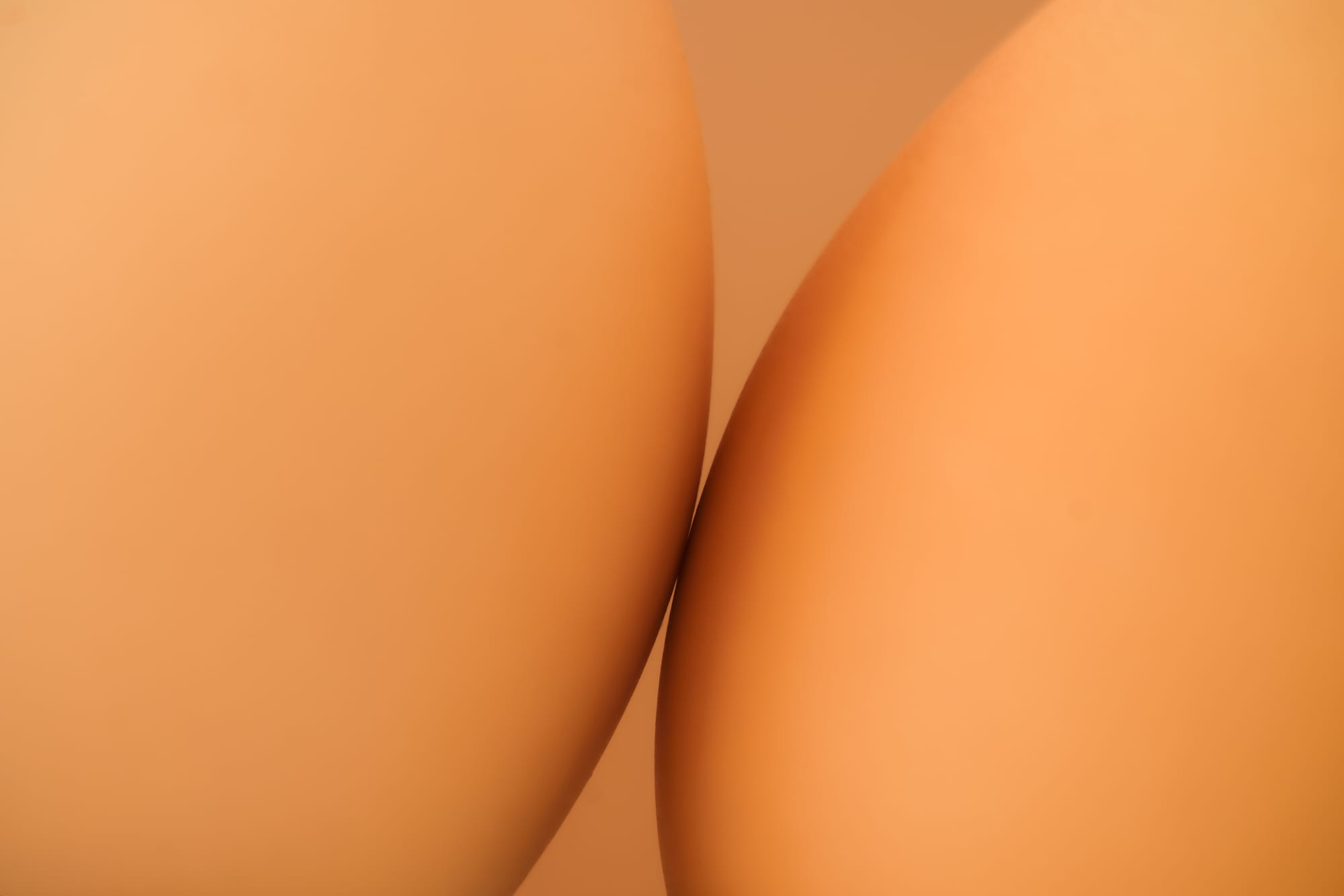 Close up of two eggs leaning together intimately.