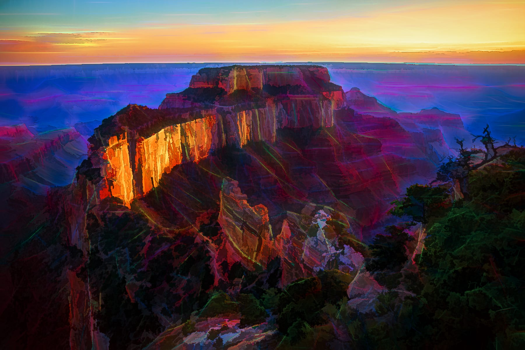 Alien world look of Wotan's Throne in Grand Canyon with colorful laser trip wires all over the canyon walls.