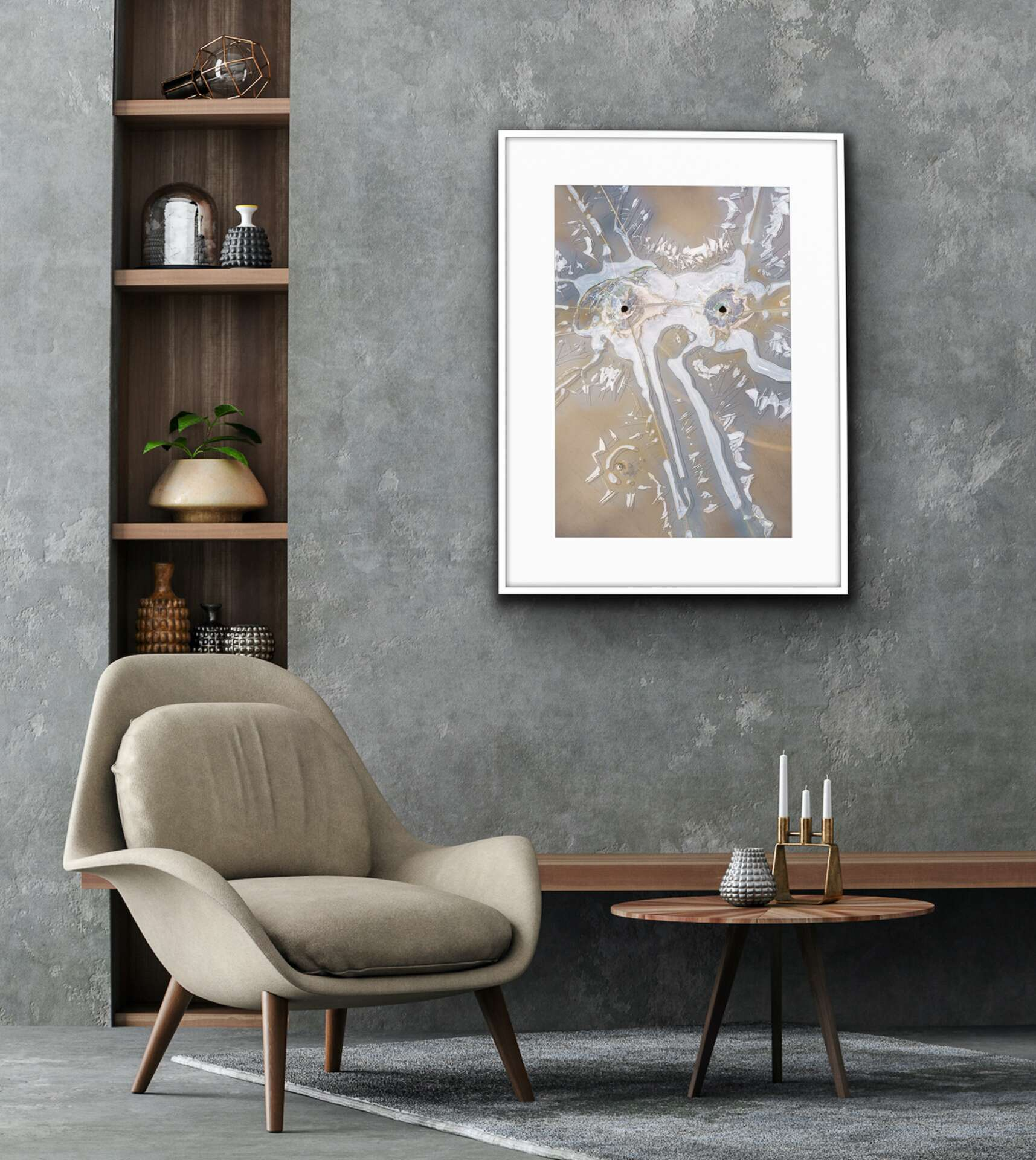 contemporary abstract art with sense of humor wall art for gray color scheme