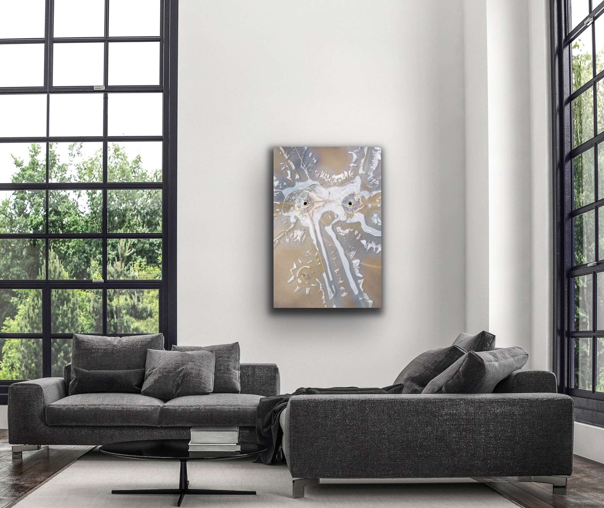 elephant in the room abstract idiom art print on a wall with a gray sofa in living room