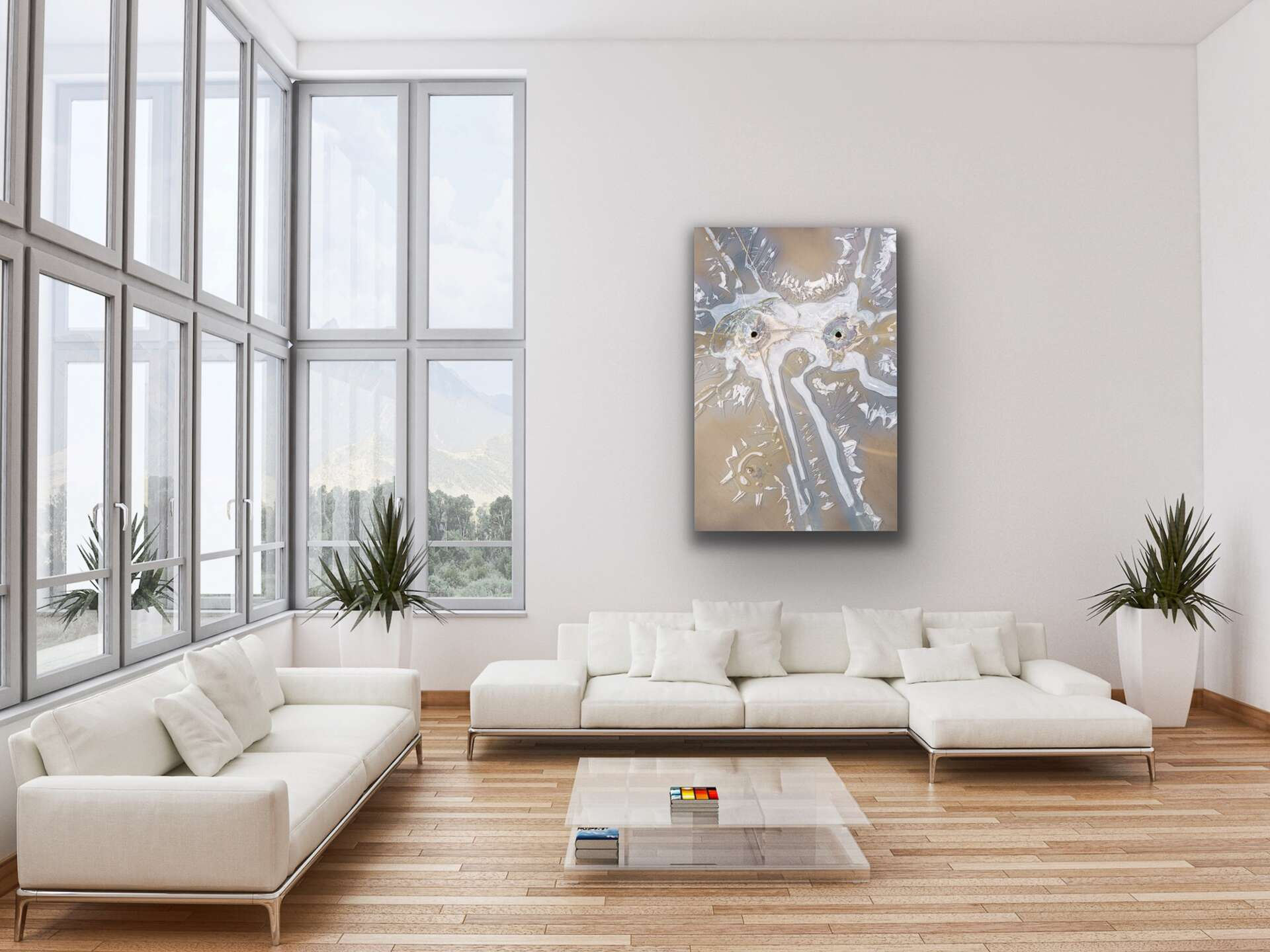 elephant in the room metaphorical abstract art in contemporary loft living room space